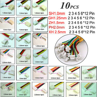 AU4.69 • Buy 10X JST 2-12Pin SH 1.0 ZH1.5 PH 2.0 XH 2.5 Connector Plug Male &Female With Wire
