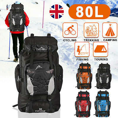 AU25.15 • Buy 80L Extra Large Nylon Camping Backpack Travel Hiking Rucksack Luggage Bag New