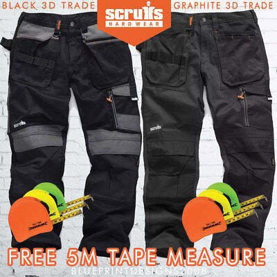 SCRUFFS 3D TRADE Black/Graphite Trousers Multipocket  ALL SIZES - 5M TAPE FREE ! • 38.95£