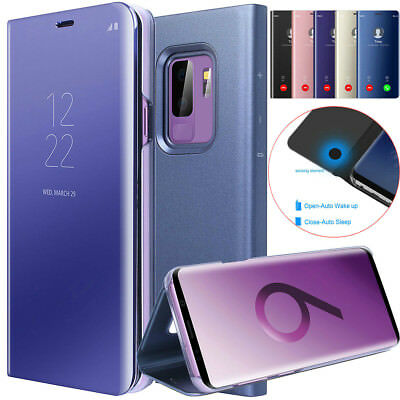 AU8.85 • Buy Samsung Galaxy S9+ Note 8 S8+ CLEAR VIEW Mirror Flip Stand Case Auto Wake Cover