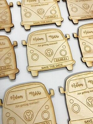 £26 • Buy Wooden Personalised Engraved Save The Date Camper Van Fridge Magnets Wedding
