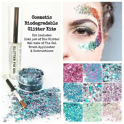 £2.95 • Buy Biodegradable Cosmetic Eco Glitter Mix, Festival Kit, Party, Make Up, + Fix Gel