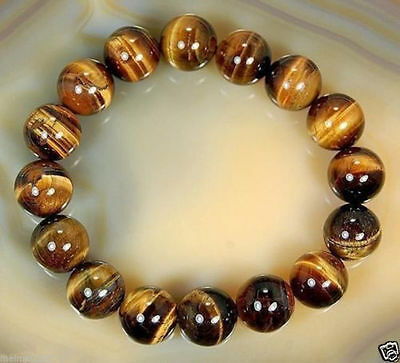 $0.99 • Buy 8mm Natural  African Roar Natural Tiger's Eye Stone Round Beads Bracelet 7.5''