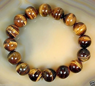 8mm Natural  African Roar Natural Tiger's Eye Stone Round Beads Bracelet 7.5'' • 0.99$