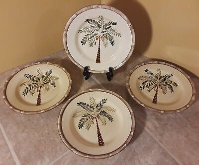 $25.50 • Buy 4 Home Trends West Palm Salad Plates Palm / Coconut Tree 8