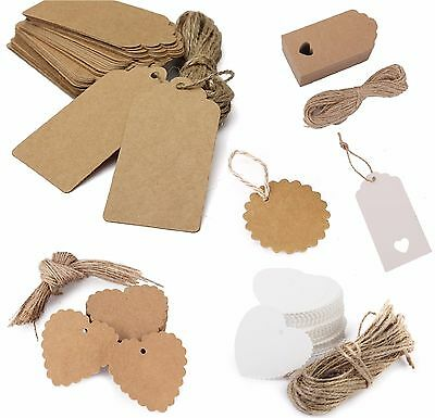 50PCS Christmas Kraft Paper Gift Tags Price Wedding Scallop Label Blank Luggage • 2.25£