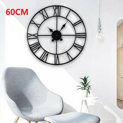 £21.99 • Buy 60cm Extra Large Roman Numerals Skeleton Wall Clock Big Giant Open Face Round
