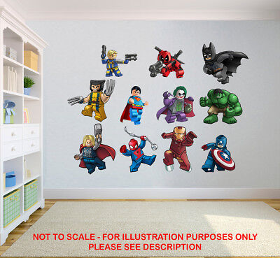 Lego Marvel Stickers Super Heroes Kids Bedroom Vinyl Decal Wall Art Sticker • 2.99£