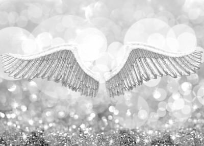 £29.99 • Buy Beautiful White Grey Angel Wings Canvas Picture #110 Framed Grey Canvas Wall Art