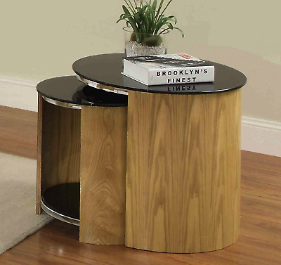 Jual Furnishings Nest Of Tables In Oak With Black Glass Tops - JF305 • 289£