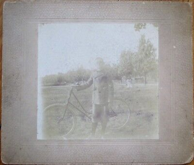Bicycle & Young Man/Boy 1890 Photo/Photograph Mounted To Board • 9.78£