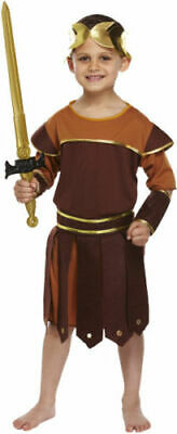 Boys Roman Soldier Fancy Dress Costume Gladiator Childs Greek Boy Kids Outfit Hb • 5.99£