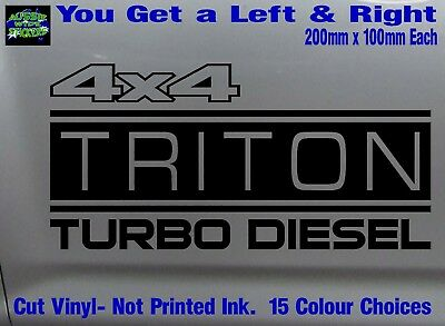 AU12.90 • Buy TRITON Stickers Accessories Ute MX Funny Decal 4x4 TURBO DIESEL 200mm PAIR