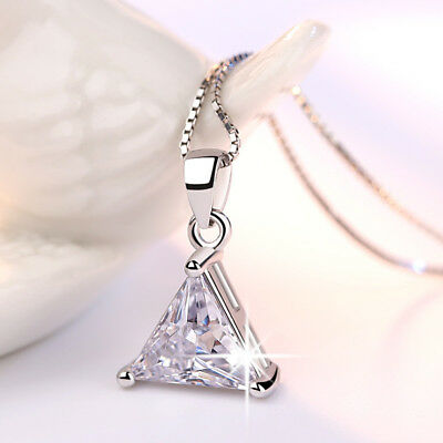 AU3.71 • Buy Solid 925 Sterling Silver AAA Triangle CZ Pendant Necklace For Women Jewellery