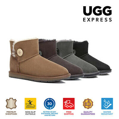 AU82 • Buy UGG Ladies Mini Button Ankle Boots -Premium Australian Sheepskin Water Resistant
