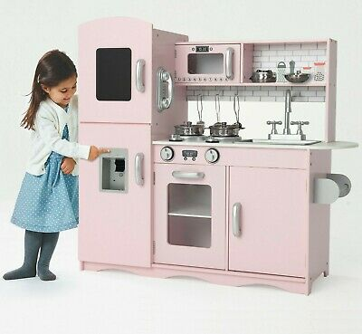Deluxe Kids Toy Kitchen Large Children Wooden Cooker Girls Boys Play Set Pink  • 85.99£