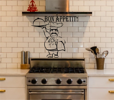 Wall Stickers Quotes Kitchen Bon Appetit Chef Art Dining Room Decals AR23 • 8.99£