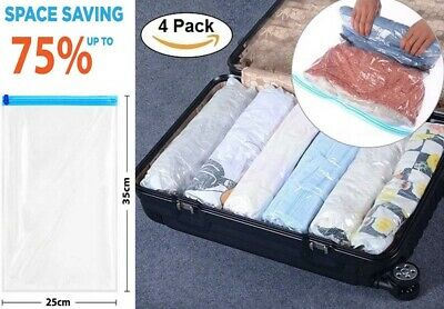 £5.99 • Buy  4 Roll Up Compression Vacuum Storage Bags Travel Home Luggage Space Saver Bags