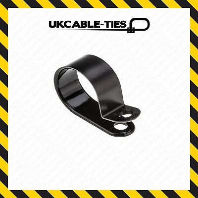 £1.19 • Buy Black Nylon Plastic P Clips - Fasteners For Cable & Tubing