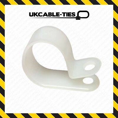 £1.19 • Buy Natural / White Nylon Plastic P Clips - Fasteners For Cable & Tubing