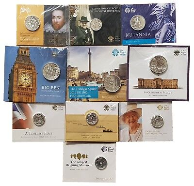 £25 • Buy Royal Mint Fine Silver Commemorative £20 £50 £100 Coins Carded Choose Your Year!
