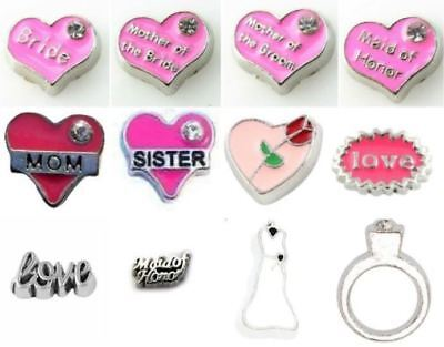 $2.25 • Buy Bride Mother Groom Heart Mom Sister Wedding Dress Ring Maid Love Floating Charms