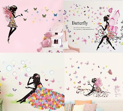 Angel Flower Girl Butterfly Flower Fairy Wall Stickers For Room Decoration • 7.99£
