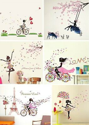 Lovely Flower Girl Butterfly Flower Fairy Wall Stickers For Room Decoration • 11.99£