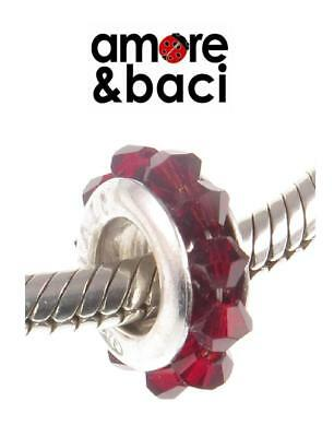 £14.99 • Buy AMORE & BACI 925 Silver & Swarovski Crystal SIAM RED SPACER Charm Bead RRP £29