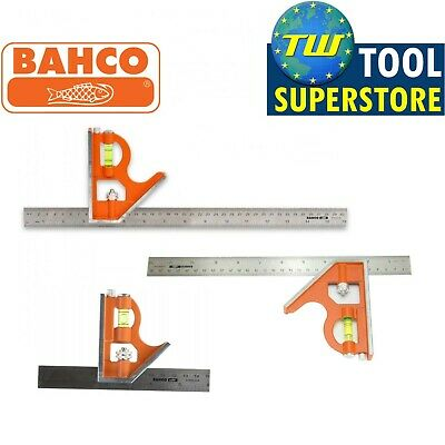 Bahco Combination Set Square Stainless Steel Ruler Packs Level 150mm 300mm 400mm • 9.99£