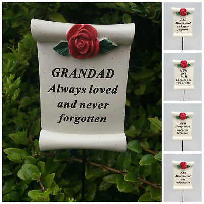 Red Rose Scroll Memorial Stick Remembrance Plaque Tribute Spike Grave Side Stake • 4.50£
