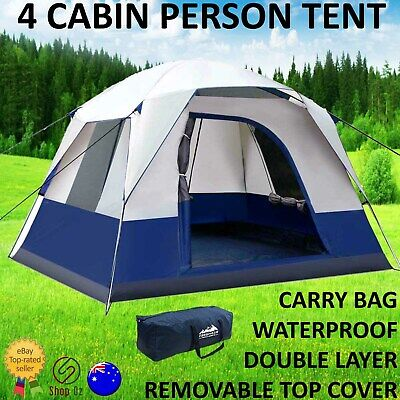 AU134.95 • Buy New 4 PERSON FAMILY CAMPING TENT Outdoor Four Man Backpacking Tents