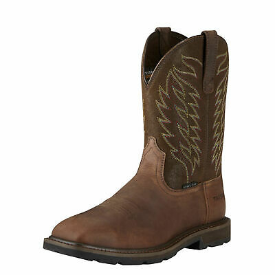 View Details Ariat 10021108 Groundbreaker 10  Wide Square Toe Safety Toe EH Rated Work Boots • 129.95$