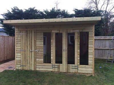 £2580 • Buy 14 X 8ft Wooden Garden Summer House Flat Roof Shed Double Doors With 2ft Canopy