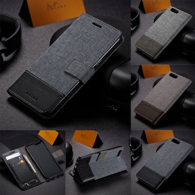 AU6.51 • Buy Luxury Magnetic Leather Case Denim Canvas Wallet Cover For Oneplus 5T 3/3T 8 Pro