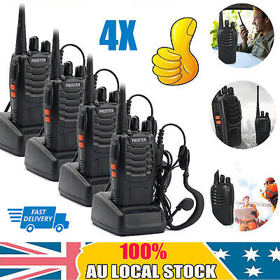 AU73.95 • Buy 4PC Walkie Talkie PST-888S Handheld Two-Way Radio 2W UHF 400-470MHz Rechargeable