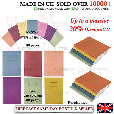 Silvine A4 A5 Exercise Books School Notebooks 80 Pages Class Children Homework  • 3.45£