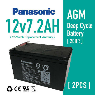 AU62.99 • Buy 2x Panasonic 12V7.2AH 7ah UPS SLA AGM Sealed Lead Acid Battery For NBN Toys UPS