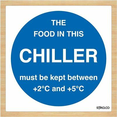 Chiller Temperature Sticker - Food Storage Signs - 100mm X 100mm By Stika.co Of • 3.21£