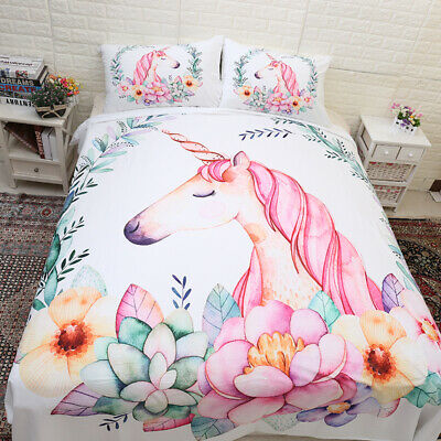 AU28.50 • Buy Unicorn Quilt Doona Duvet Cover Set Single/Double/Queen/King Size Bed Pillowcase