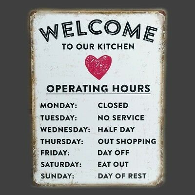 £4.99 • Buy Kitchen Welcome Metal Plaque Vintage Sign Tin Retro Wall Shabby Chic Funny Gift
