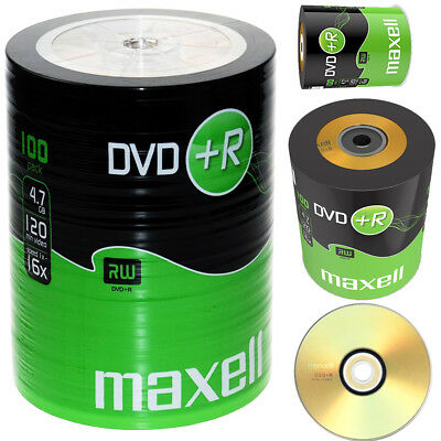 £19.99 • Buy GENUINE MAXELL DVD+R 100 PACK BLANK DISCS RECORDABLE DVD 16x 4.7GB 120 MINS PC