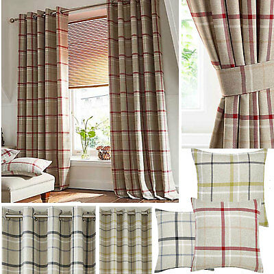 £31 • Buy Hudson Woven Check Jacquard Ring Top Curtains (Pair Of) - Choice Of Colours