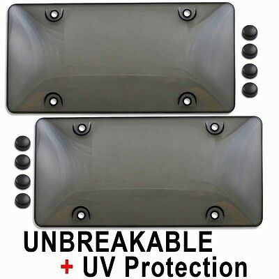 $9.95 • Buy TWO TINTED PLASTIC LICENSE PLATE SHIELD Cover Tag Protector Smoke Dark Black 2