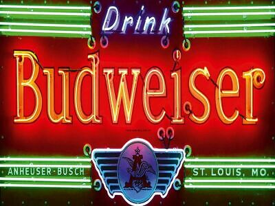 Budweiser Beer Neon Lights Advertising Vintage Retro Metal Sign Wall Decor A4 • 8.99£