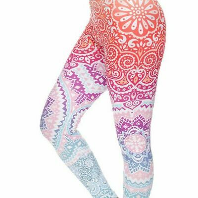 AU28.95 • Buy Womens Mandala Pastel Skinny Spandex Yoga Fitness Leggings Activewear Pants Full