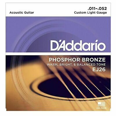 $ CDN15.36 • Buy D'addario EJ26  Phosphor Bronze Custom  Acoustic Guitar Strings 11 - 52 1 SET