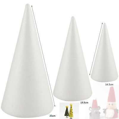 £5.39 • Buy  Solid Polystyrene Cone For Art Projects Wedding Party Decoration 14.5-25cm