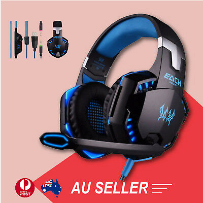 AU42.85 • Buy 3.5mm Gaming Headset Mic Blue LED Headphones Stereo For Laptop PS3 Xbox One