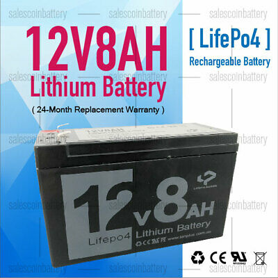 AU69.99 • Buy 12V 8Ah Rechargeable Lifepo4 Lithium Battery Ultra Light >12v 7ah 12v7 NBN
